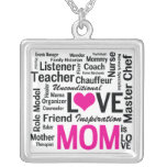 Mom is LOVE, Inspiration, and So Much More Square Pendant Necklace