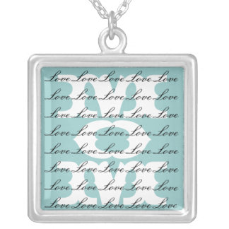Mom is Love & Love for Mom in Aqua Teal Square Pendant Necklace