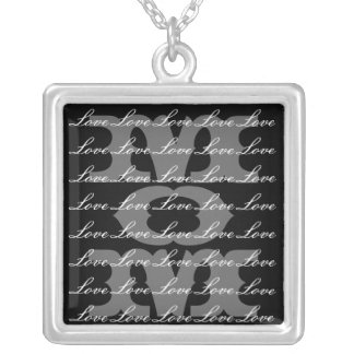 Mom is Love & Love for Mom in Black & White Square Pendant Necklace