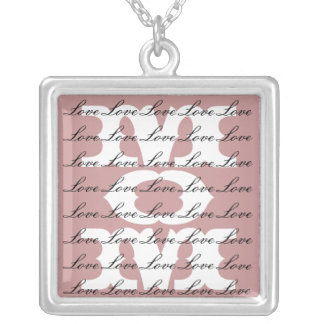 Mom is Love & Love for Mom in Dusty Pink Square Pendant Necklace