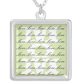 Mom is Love & Love for Mom in Green & White Square Pendant Necklace