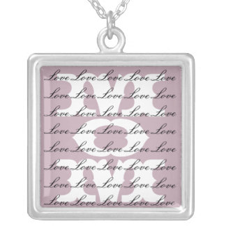Mom is Love & Love for Mom in Purple & White Square Pendant Necklace