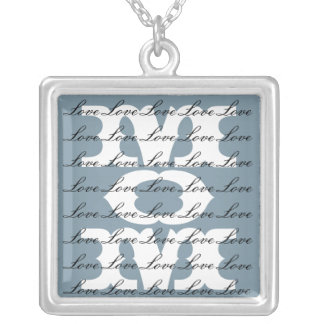 Mom is Love & Love for Mom Porcelain Blue & White Square Pendant Necklace