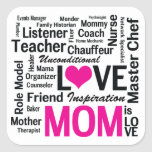 Mom is Love - Mother's Day Appreciation Square Stickers