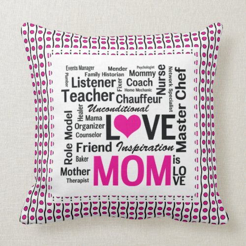 Mom is Love Mother's Day Gift for Do It All Mum mojo_throwpillow