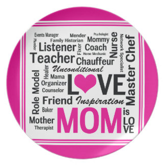 Mom is Love Mother's Day Gift for Do It All Mum Plates