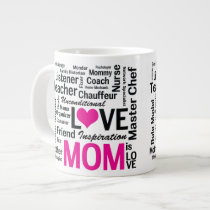 Mom is Love Mother's Day Gift for Do It All Mum 20 Oz Large Ceramic Coffee Mug