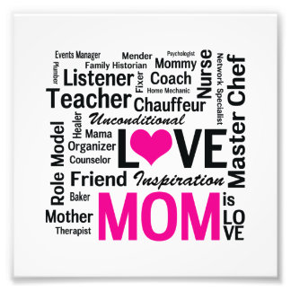 Mom is Love - Mother's Day or Mom's Birthday Photo Print