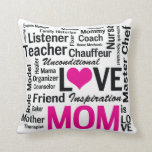 Mom is Love Pink and Black Mother's Day Throw Pillows