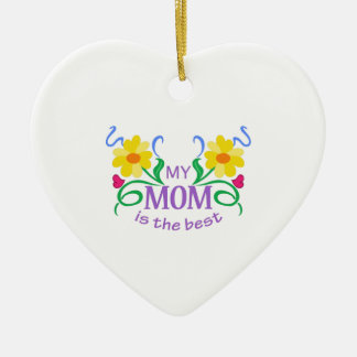 MOM IS THE BEST Double-Sided HEART CERAMIC CHRISTMAS ORNAMENT