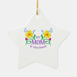MOM IS THE BEST Double-Sided STAR CERAMIC CHRISTMAS ORNAMENT