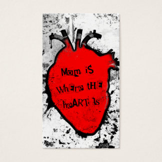 mom is where the anatomical heart is business card