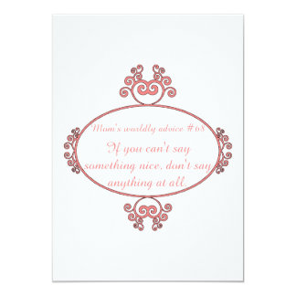 Mom-isms on t-shirts and gifts for moms. 5x7 paper invitation card