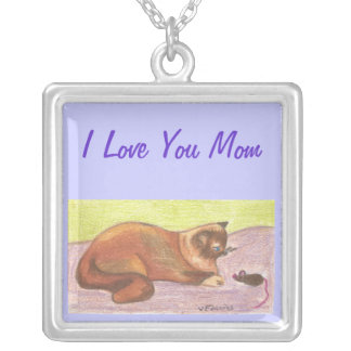 Mom Jewelry with Cat and Mouse, Cat Lovers
