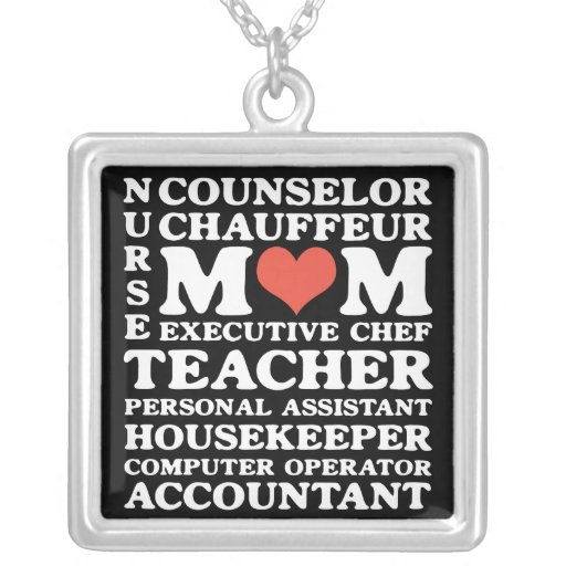 Mom Jobs Square Necklace
