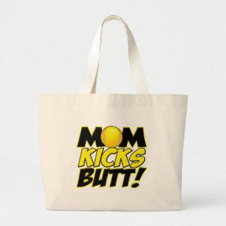 Mom Kicks Butt (T).png Large Tote Bag