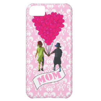 Mom, kids with heart shaped balloons iPhone 5C cover