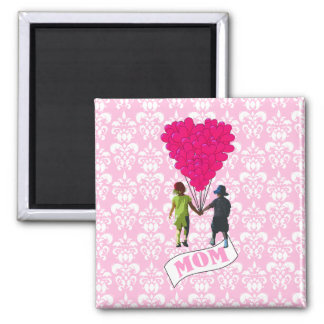 Mom, kids with heart shaped balloons 2 inch square magnet