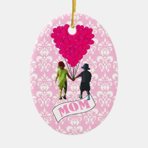 Mom, kids with heart shaped balloons ornament