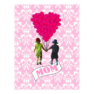 Mom, kids with heart shaped balloons postcard