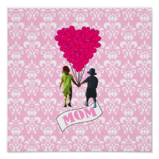 Mom, kids with heart shaped balloons print