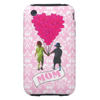 Mom, kids with heart shaped balloons tough iPhone 3 covers