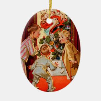 Mom Kisses Santa Claus Ceramic Ornament