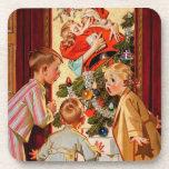 Mom Kisses Santa Claus Drink Coaster