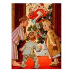 Mom Kisses Santa Claus Postcard