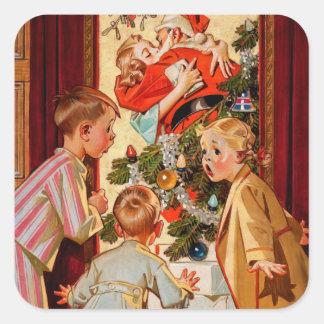 Mom Kisses Santa Claus Square Sticker