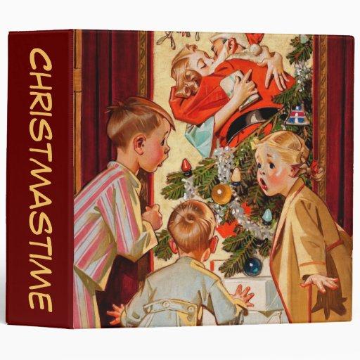 Mom Kisses Santa Claus Vinyl Binder