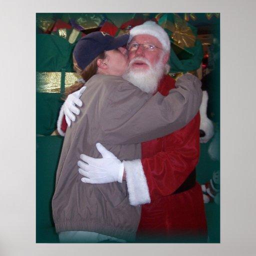 mom kissing santa poster