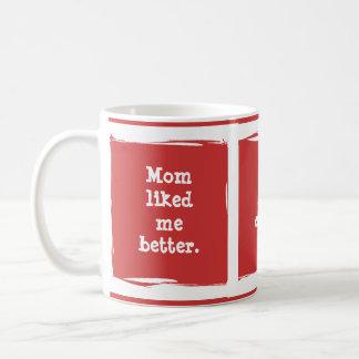 """Mom liked me better."" Customize yourself! Classic White Coffee Mug"