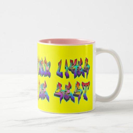 Mom Likes Me Best! Graffiti Heart Yellow Mug