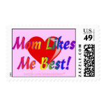 Mom Likes Me Best! Pink w Heart Postage Stamps