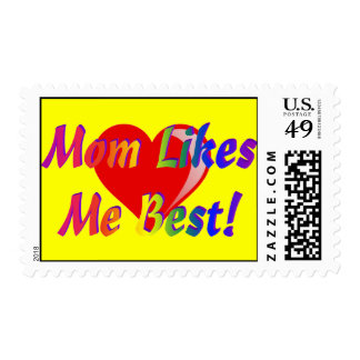 Mom Likes Me Best! Yellow w Heart Postage Stamps