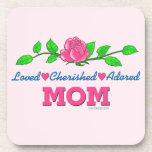 Mom Loved Cherished Adored Beverage Coasters