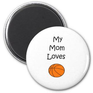 MOM Loves basketball 2 Inch Round Magnet