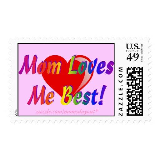 Mom Loves Me Best! Rainbow & Heart Pink Postage