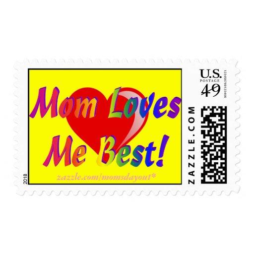 Mom Loves Me Best! Rainbow & Heart Yellow Postage