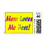 Mom Loves Me Best! Rainbow Yellow Postage Stamps