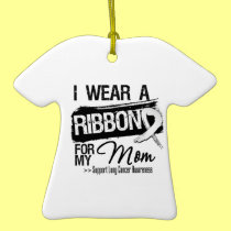 Mom Lung Cancer Ribbon Christmas Tree Ornament