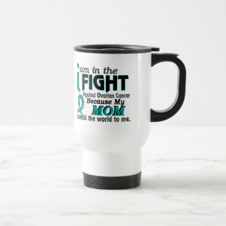 Mom Means World To Me Ovarian Cancer 15 Oz Stainless Steel Travel Mug