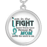 Mom Means World To Me Ovarian Cancer Round Pendant Necklace
