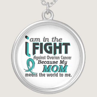 Mom Means World To Me Ovarian Cancer Silver Plated Necklace