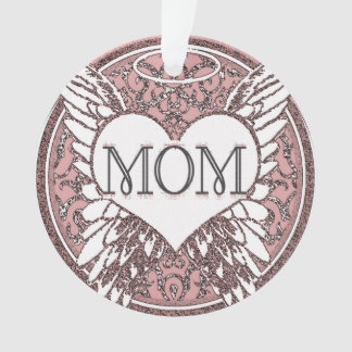 Mom Memorial with Heart and Angel Wings Ornament