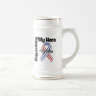 Mom - Military Supporting My Hero Beer Stein