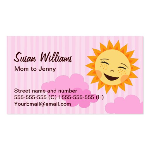 Mom mommy calling card pink with cute sun business card for Mommy business cards