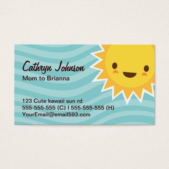 Mom/mommy calling card, teal aqua with cute sun business card