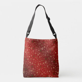 mom, mother happy christmas text and pattern crossbody bag